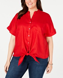 Charter Club Plus Size Linen Tie-Front Top, Created for Macy's