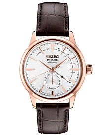 Seiko Men's Automatic Presage Brown Leather Strap Watch 42mm