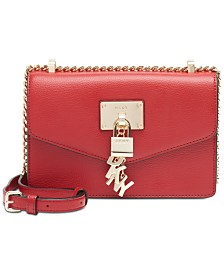 DKNY Elissa Small Leather Flap Shoulder Bag, Created for Macy's