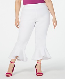 I.N.C. Plus Size Pull-On Cropped Ruffled-Hem Pants, Created for Macy's