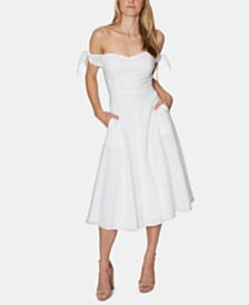 Avec Les Filles Eyelet Off-The-Shoulder Midi Dress
