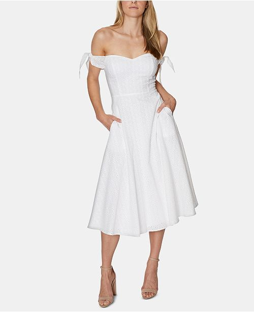 Avec Les Filles Eyelet Off-The-Shoulder Midi Dress