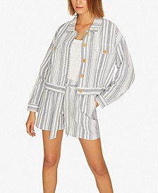 Skyward Striped Cropped Trucker Jacket