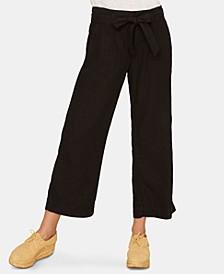 Inland Linen Solid Crop Capri Pants
