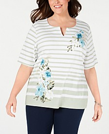 Plus Size Split-Neck Mixed-Print Top, Created for Macy's