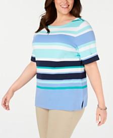 Karen Scott Plus Size Striped Cuffed-Sleeve Top, Created for Macy's