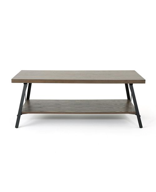 Noble House Camaran Industrial Faux Wood Coffee Table, Quick Ship