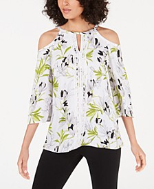 Lace-Trim Cold-Shoulder Top, Created for Macy's