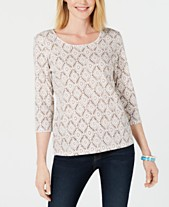 22f84e4c Karen Scott Vine-Print 3/4-Sleeve Top, Created for Macy's
