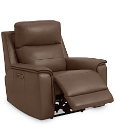 "Goodwick 37.5"" Leather Power Motion Recliner, Created for Macy's"