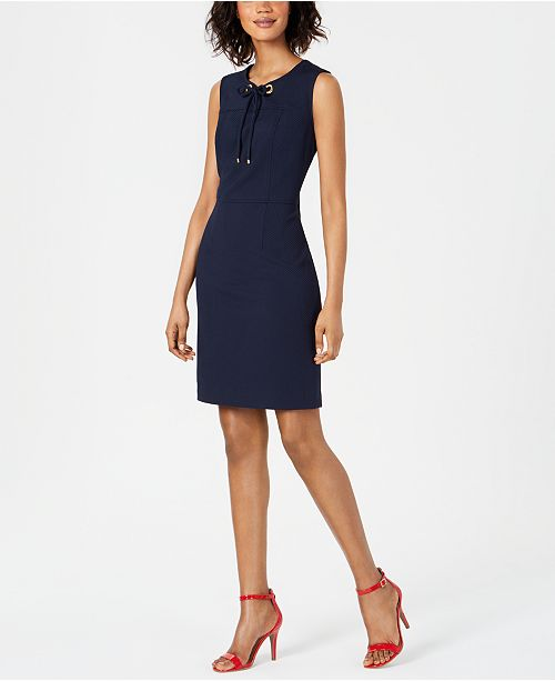 Pappagallo Lace & Grommet Sheath Dress