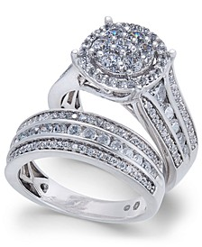 Diamond Cluster Bridal Set (2 ct. t.w.) in 14k White Gold