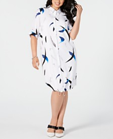 Alfani Plus Size Printed Button-Front Shirtdress, Created for Macy's