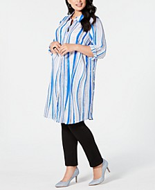 Plus Size Convertible Button-Front Tunic Top, Created for Macy's