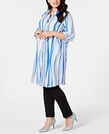Alfani Plus Size Convertible Button-Front Tunic Top, Created for Macy's