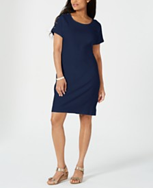 Karen Scott Cotton Button-Shoulder Dress, Created for Macy's