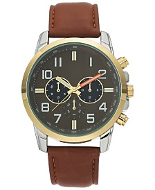 I.N.C. Men's Luggage Brown Faux Leather Strap Watch 44mm, Created for Macy's