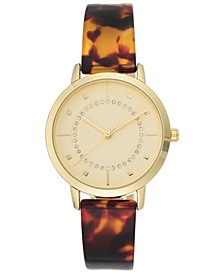 INC Women's Tortoise Resin Bangle Bracelet Watch 35mm, Created For Macy's