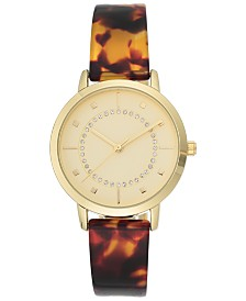 I.N.C. Women's Tortoise Resin Bangle Bracelet Watch 35mm, Created For Macy's