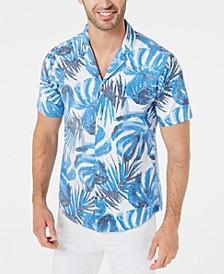 Men's Slim-Fit Stretch Striped Palm-Print Seersucker Camp Shirt
