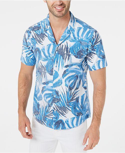 Michael Kors Men's Slim-Fit Stretch Striped Palm-Print Seersucker Camp Shirt