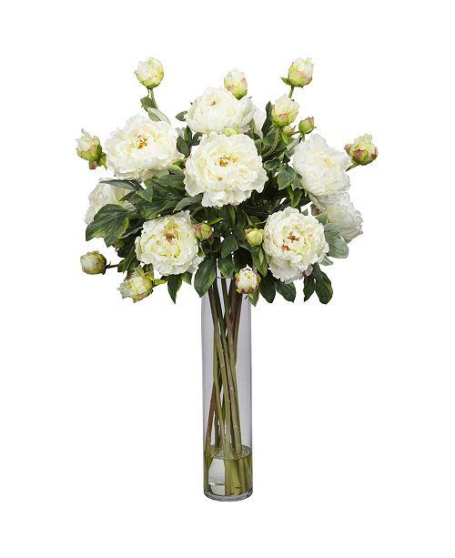 Nearly Natural Peony w/Cylinder Silk Flower Arrangement