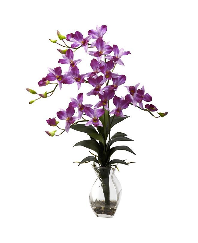 Nearly Natural Dendrobium Orchid w/ Vase Arrangement