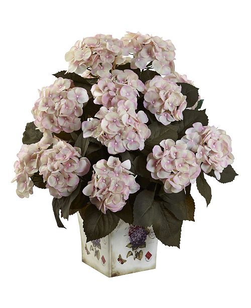 Nearly Natural Hydrangea w/Large Floral Planter