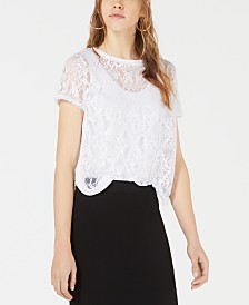 Bar III Sheer Burnout Mesh Top, Created for Macy's
