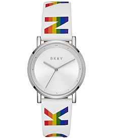 DKNY Women's Soho White Logo Polyurethane Strap Watch 34mm