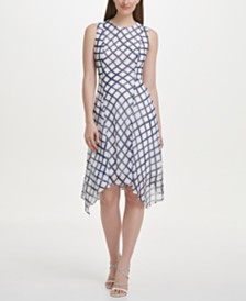 DKNY Chiffon Checkered Handkerchief Hem Dress