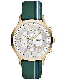 Men's Chronograph Green Striped Leather Strap Watch 43mm