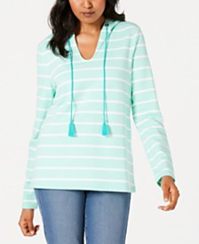 Charter Club Striped Tasseled Hoodie, Created for Macy's