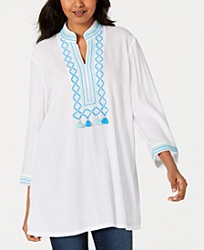 Embroidered Tassel-Trim Tunic, Created for Macy's