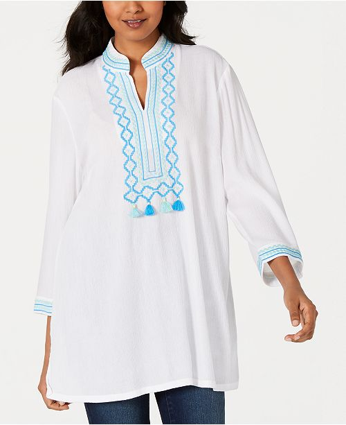 Charter Club Embroidered Tassel-Trim Tunic, Created for Macy's