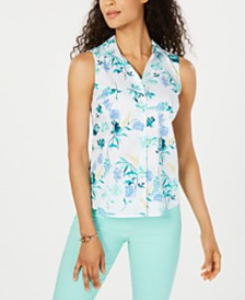 Charter Club Floral-Print Sleeveless Top, Created for Macy's