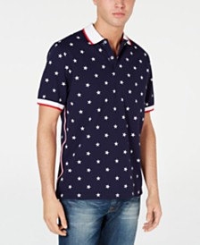 Club Room Men's Americana Star Print Stretch Polo, Created for Macy's