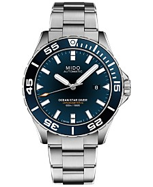 Mido Men's Swiss Automatic Chronometer Ocean Star Blue Diver 600 Stainless Steel Watch 43.5mm