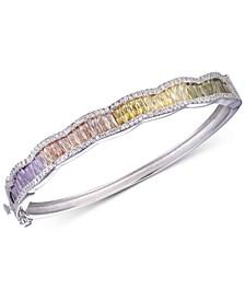 Cubic Zirconia Multicolor Bangle Bracelet in Sterling Silver