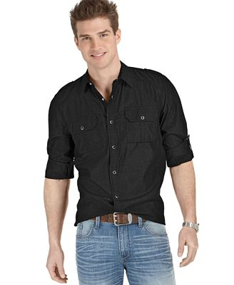 American Rag Men's Long Sleeve Chambray Button Down Shirt, Only at ...