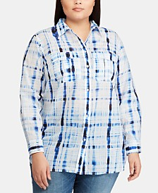 Lauren Ralph Lauren Plus Size Cotton Voile Shirt