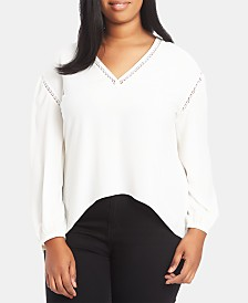 1.STATE Plus Size Pointelle-Trim Top