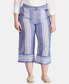 Lauren Ralph Lauren Plus Size Striped Wide-Leg Linen Pants