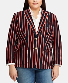 Lauren Ralph Lauren Plus Size Striped Piqué Blazer