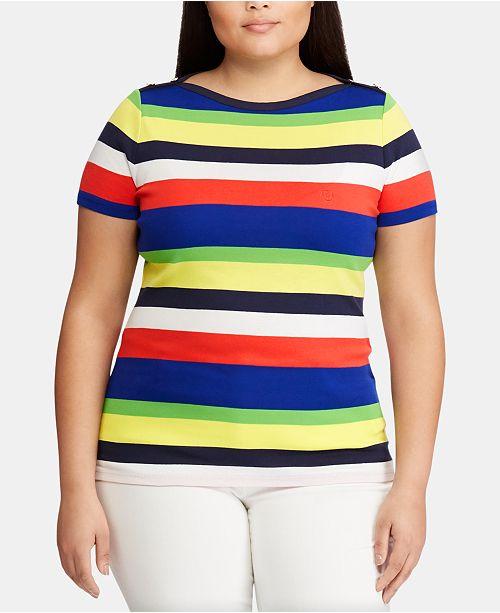 Lauren Ralph Lauren Plus Size Striped Cotton Top