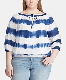 Lauren Ralph Lauren Plus Size Stripe-Print Cotton Top