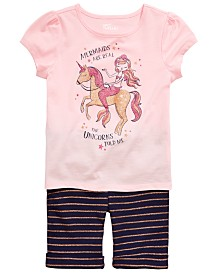 Epic Threads Toddler Girls Mermaids are Real Graphic-Print T-Shirt & Striped Bermuda Shorts Separates, Created for Macy's