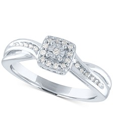 Diamond Square Cluster Promise Ring (1/10 ct. t.w.) in Sterling Silver