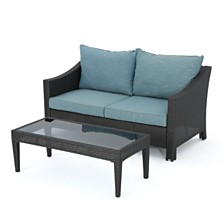 Antibes Outdoor 2pc Wicker Seating Set, Quick Ship