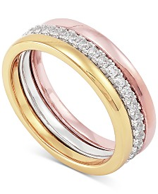 Cubic Zirconia Tri-Color Ring in 18k Gold-Plate, 18k Rose Gold-Plate and 18k White Gold-Plate Over Sterling Silver